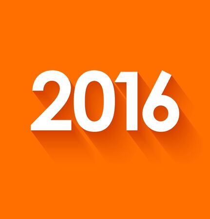 decorative card symbols: New year 2016 in flat style on orange background.