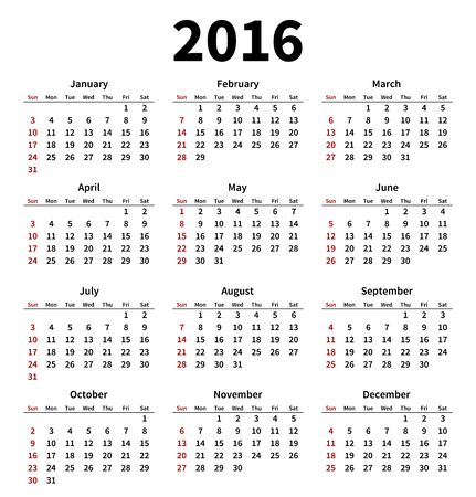 Simple 2016 year calendar on white background.