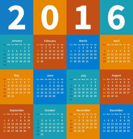 Calendar 2016 year in flat color.