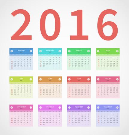 Calendario anual 2016 en diseño plano. Foto de archivo - 44206155