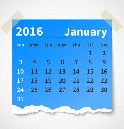 papel de notas: Calendario enero 2016 papel rasgado colorido. Vectores
