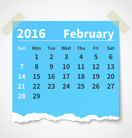 Calendario 02 2016 papel rasgado colorido. Foto de archivo - 44206162