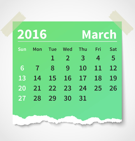 Calendar march 2016 colorful torn paper. Vectores