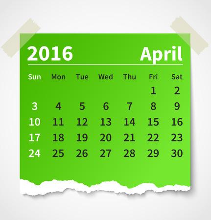 4월: 달력 2016년 4월 다채로운 찢어진 된 종이.