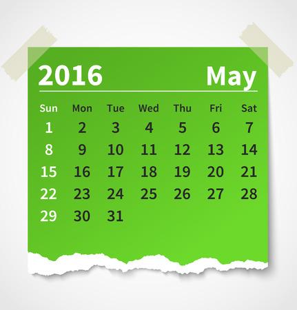 Calendar may 2016 colorful torn paper.