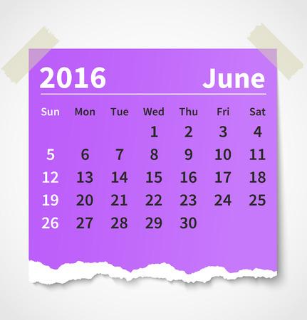 Calendar june 2016 colorful torn paper.