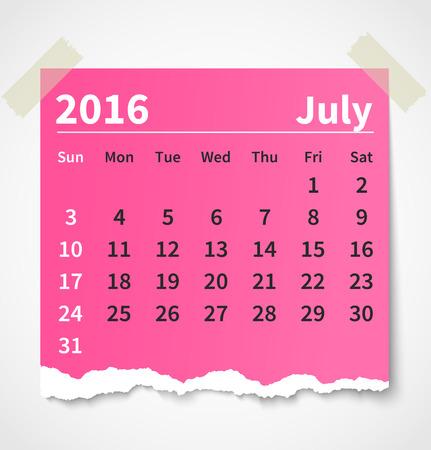 Calendario julio 2016 papel rasgado colorido Foto de archivo - 44206168