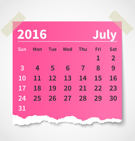 Calendar july 2016 colorful torn paper
