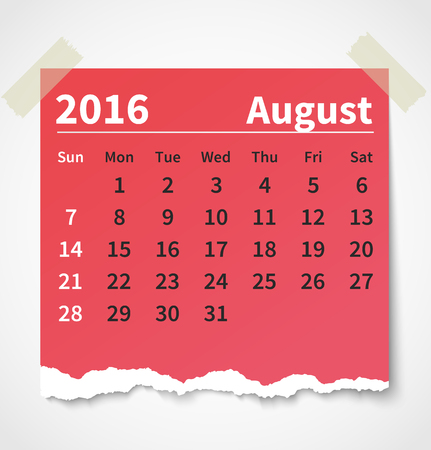 Calendar august 2016 colorful torn paper.