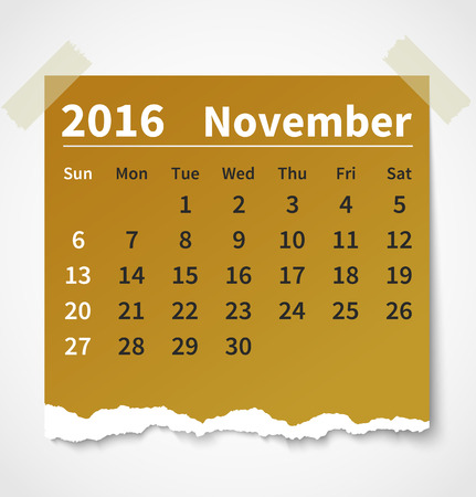 Calendar november 2016 colorful torn paper. Vectores