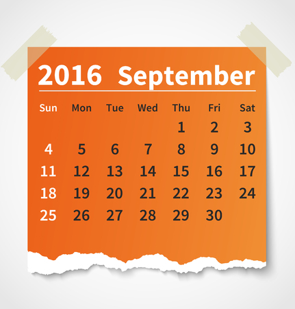 Calendario septiembre 2016 papel rasgado colorido. Foto de archivo - 44206173