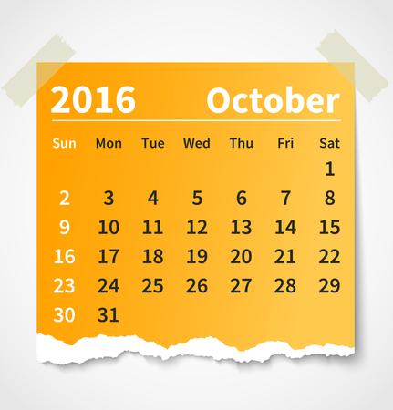 Calendario octubre 2016 papel rasgado colorido. Foto de archivo - 44206178