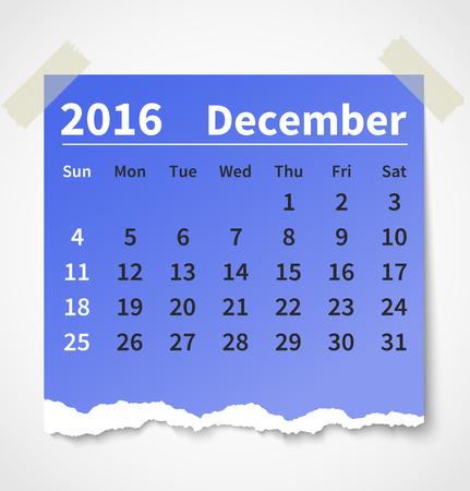 Calendar december 2016 colorful torn paper.