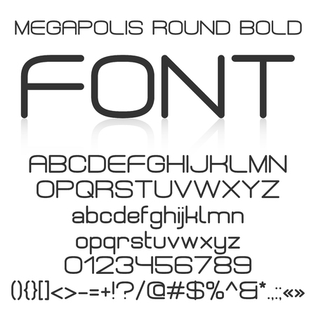 Alfabeto na moda elegante moderno negrito com letras maiúsculas e minúsculas, números e símbolos. Ilustração do vetor