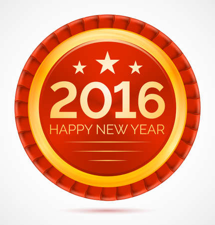 Red christmas badge 2016 happy new year. Vector illustration