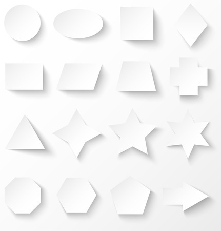 trapezoid: Set of white paper basic geometric shapes with shadow. Vector illustration