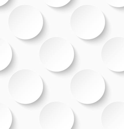 White paper seamless circle pattern background. Vector illustration