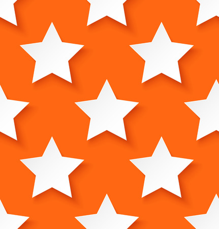 repeat structure: White paper seamless star pattern on orange background. Vector illustration Illustration