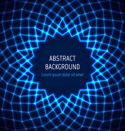Abstract blue circle polygonal technology border background with light effects. Vector illustration Vectores