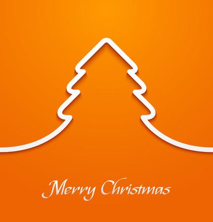 Línea papel apliques Extracto del árbol de navidad en el fondo de color naranja. ilustración vectorial Foto de archivo - 49554891