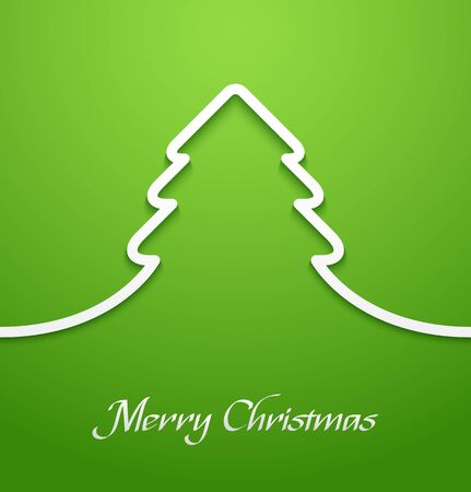 Abstract line paper christmas tree applique on green background. Vector illustration