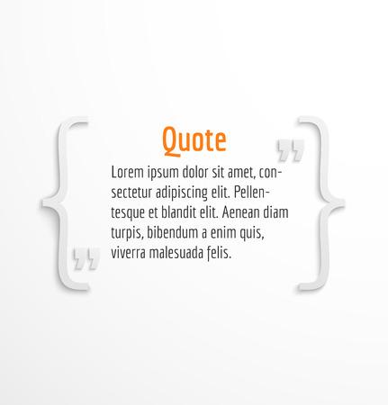 cotizacion: Cita en blanco con la burbuja del mensaje de texto, plantilla de cuadro de diálogo en el fondo blanco. Ilustración vectorial