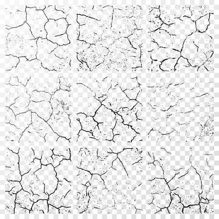 흰색 투명 배경에 고립 된 현실적인 벽 균열의 집합입니다. 삽화