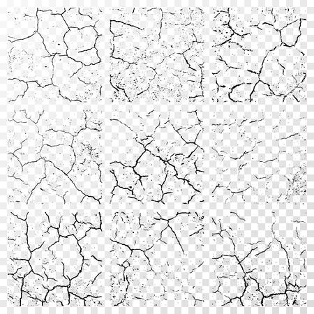 Ensemble de fissures dans les murs réalistes isolé sur fond blanc transparent. illustration