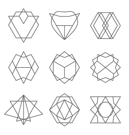Set of hipster outline , badge, design elements. illustration Vectores