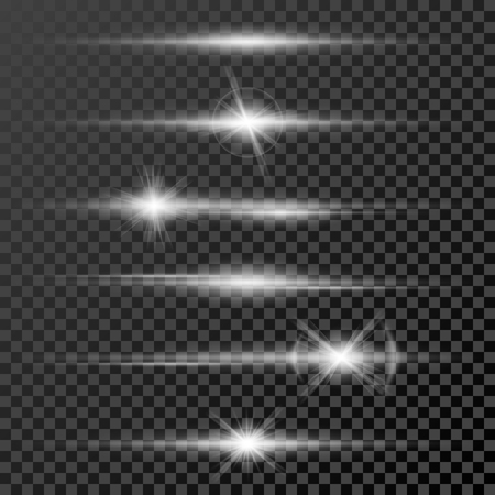 Set of glow light effect stars bursts with sparkles isolated on black transparent background template. illustration