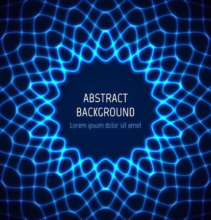 Círculo azul de neón fondo frontera abstracto con efectos de luz. ilustración Foto de archivo - 56755988