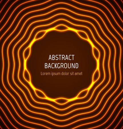 Abstract orange circle border background with light effects. illustration