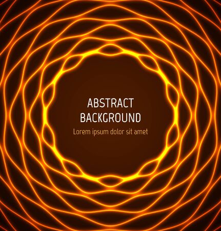 Abstract orange circle wavy border background with light effects. illustration Vectores