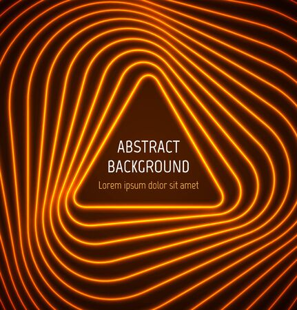 Abstract orange triangle border background with light effects. illustration
