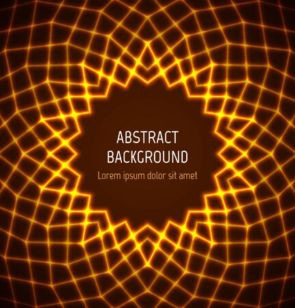 Abstract orange circle polygonal technology border background with light effects. illustration