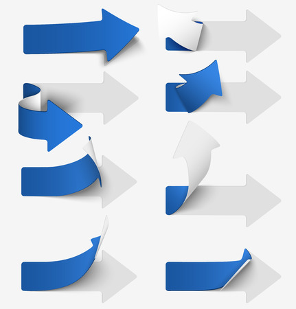 Set of blue paper arrow stickers. illustration