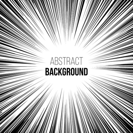 Abstract comic book black and white explosion radial speed lines background. illustration Vectores