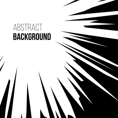 Abstract comic book black and white graphic explosion radial speed lines background. illustration Vectores