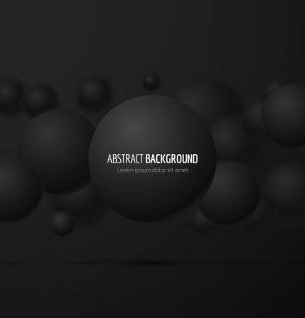 Abstract black 3d realistic sphere background. illustration