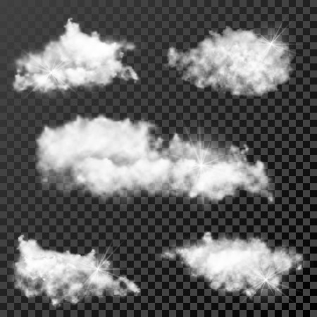 Set of realistic transparent clouds, sunny weather cloudscape on checkered background