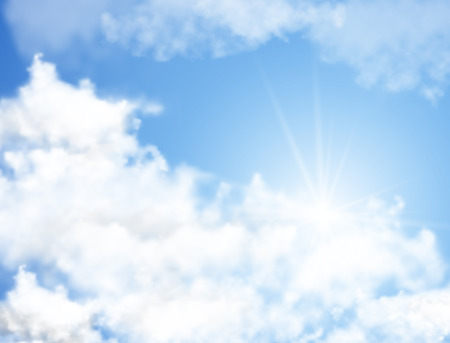 Realistic blue sky with white clouds and sun rays Vectores