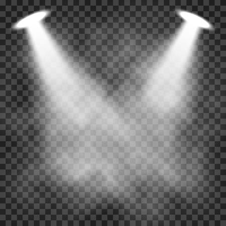 Scene illumination light effects on a transparent dark background, bright lighting with spotlights.