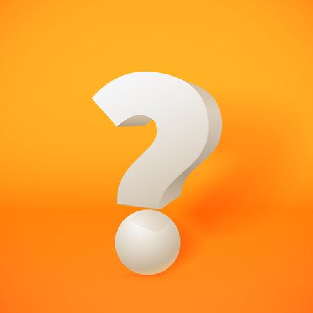point d interrogation: Blanc 3d interrogation sur fond orange Illustration