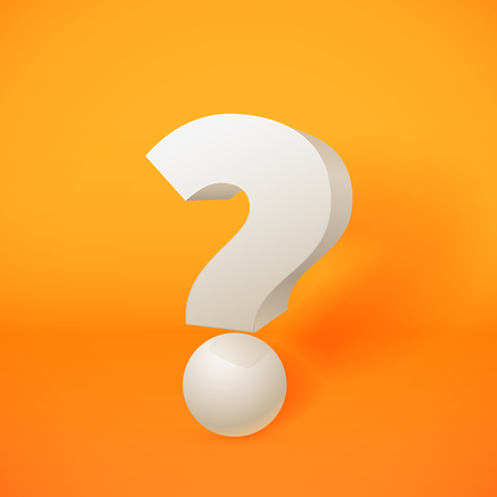 interrogative: White 3d question mark on orange background Illustration