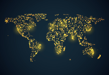 Abstract bright glowing map on dark blue background. Vectores
