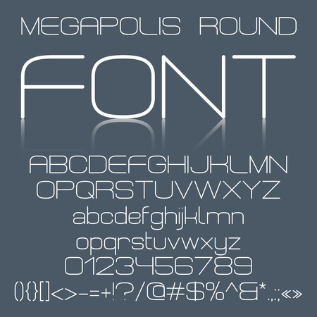 Trendy modern elegant font alphabet with upper case and lower case letters, numbers and symbols on dark gray background. Vectores