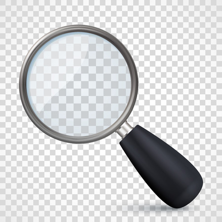 Realistic metal magnifying glass icon on transparent checkered background. Vettoriali