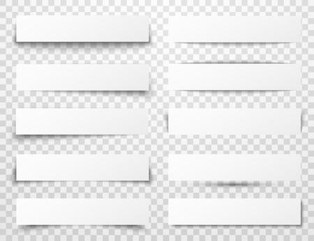 Conjunto de banderas de papel blancas horizontales con diferentes sombras realistas en el fondo a cuadros transparente. Foto de archivo - 62768595