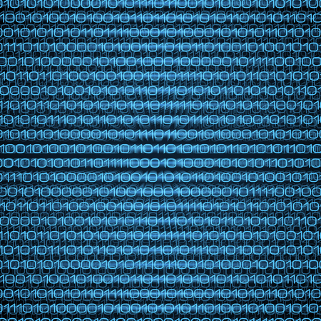 Abstract blue binary computer code technology data background. Coding, programming, hacking concept illustration