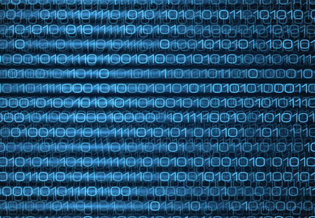 coding: Abstract blue binary computer code screen. Technology data background. Coding, programming, hacking concept illustration Illustration